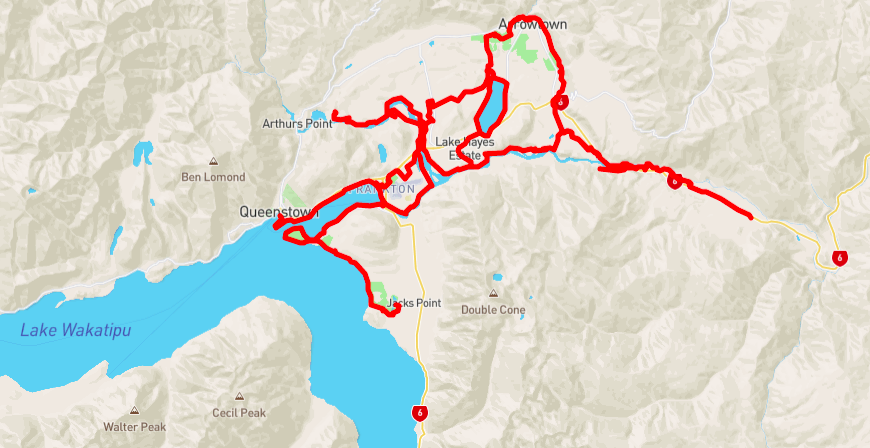 Карта маршрута The Queenstown Trail / © Mapbox